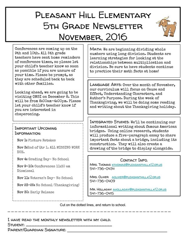 5th grade newsletter template - november newsletter phes 5th grade